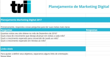 planilha de planejamento de marketing digital da Trii