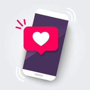desenho de celular com um balão com coração