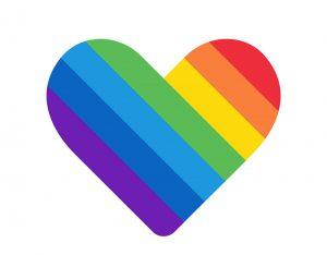 coração com as cores da bandeira LGBT