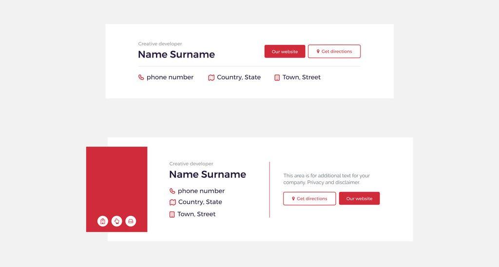 Exemplo de layout para assinatura de email