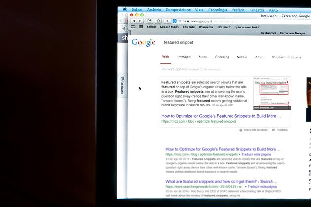 Na imagem é possível ver como um featured snippet fica exposto na página de busca do Google
